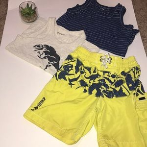Gap size 5 (2) tank tops (1) swim trunk dinosaurs
